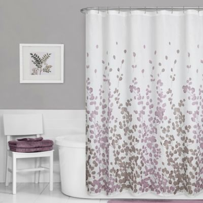 Maytex Leaf Print Shower Curtain In Purple