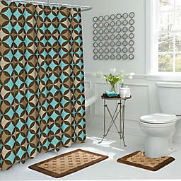 Avatar 15 Piece Bathroom Set In Chocolate Blue