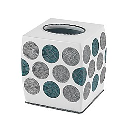 Avanti Dotted Circle Tissue Box Cover in White
