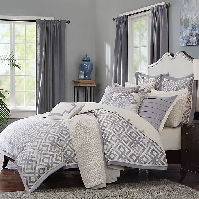 Alternate image 1 for Madison Park Signature Stein 8-Piece Queen Comforter Set in Grey