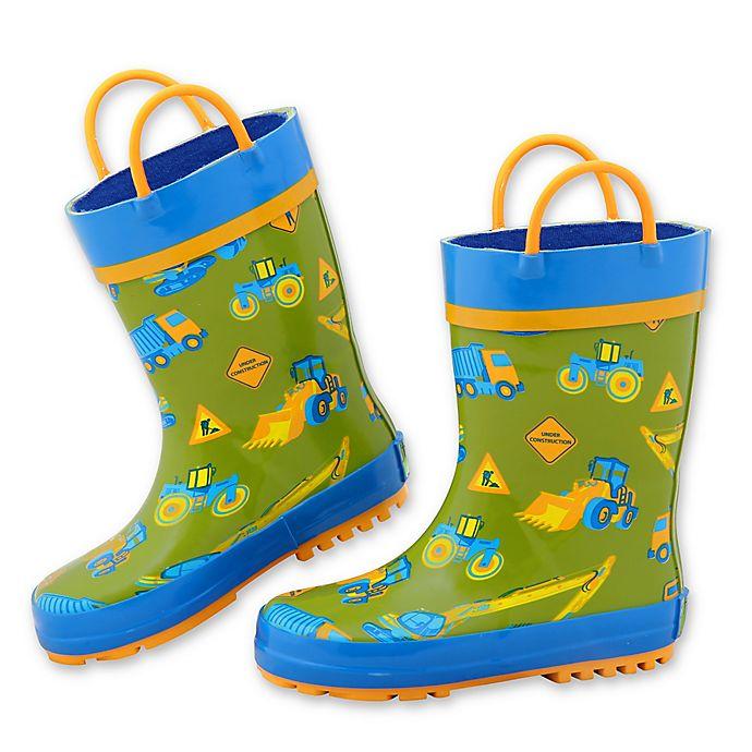 Alternate image 1 for Stephen Joseph® Size 13 Construction Rain Boot in Green