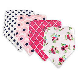 Hudson Baby® 4-Pack Floral Cotton/Poly Bandana Bibs in Pink