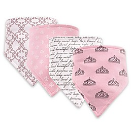 Hudson Baby 4-Pack Princess Bandana Bib Set in Pink