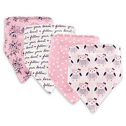 Hudson Baby 4-Pack Owls Bandana Bib Set in Pink
