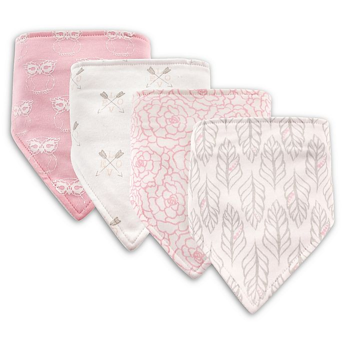 Alternate image 1 for Hudson Baby® 4-Pack Feather Cotton/Poly Bandana Bibs in Grey
