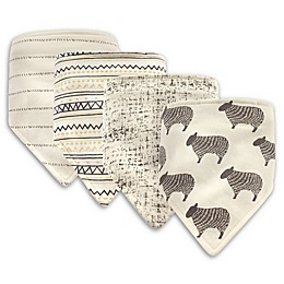 Hudson Baby® 4-Pack Sheep Cotton/Poly Bandana Bibs in Grey