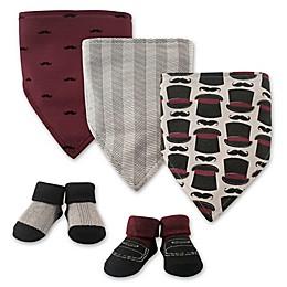 Hudson Baby® 5-Pack Gentleman Bib & Sock Set in Black