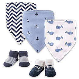 Hudson Baby® 5-Pack Whales Bib & Sock Set in Blue