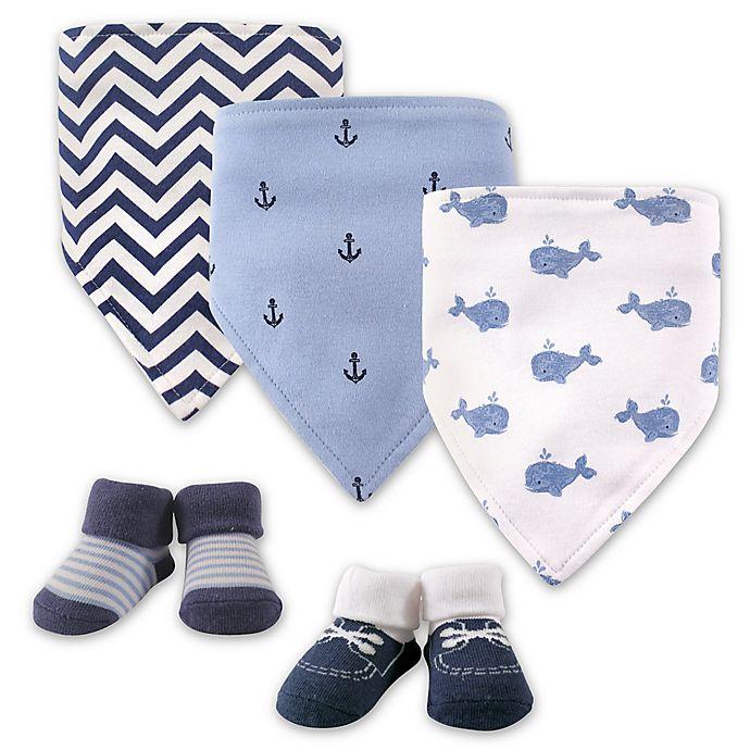 Alternate image 1 for Hudson Baby® 5-Pack Whales Bib & Sock Set in Blue