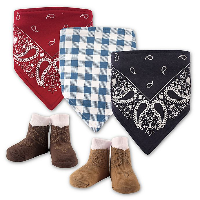 Alternate image 1 for Hudson Baby® 5-Pack Cowboy Bib & Sock Set in Red