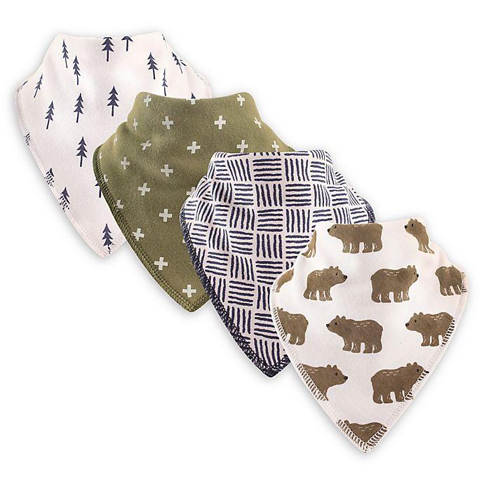 Alternate image 1 for Hudson Baby® 4-Pack Bears Cotton/Fleece Bandana Bibs in Green