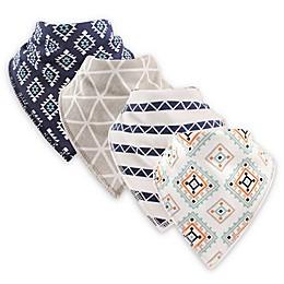 Hudson Baby® 4-Pack Aztec Cotton/Fleece Bandana Bibs in Navy
