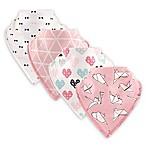 Hudson Baby® 4-Pack Birds Cotton/Fleece Bandana Bibs in Pink