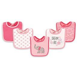 Hudson Baby® 5-Pack Elephant Drooler Bib Set in Pink