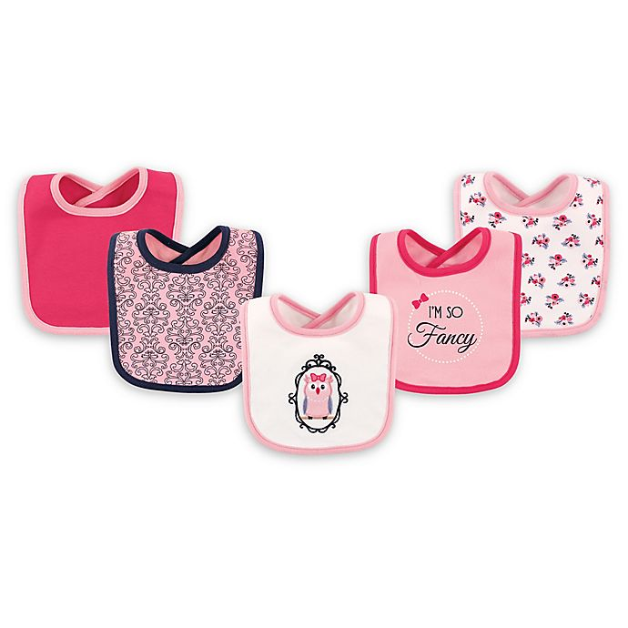 Alternate image 1 for Hudson Baby® 5-Pack Fancy Owl Drooler Bib Set in Pink