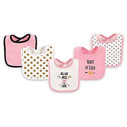 Hudson Baby® 5-Pack Heart Drooler Bib Set in Pink