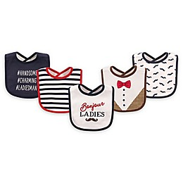 Hudson Baby® 5-Pack Bonjour Cotton/Terry Drooler Bibs in Blue