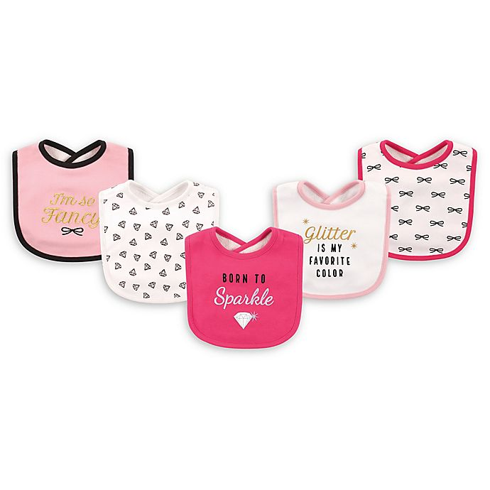 Alternate image 1 for Hudson Baby® 5-Pack Sparkle Drooler Bib Set in Pink