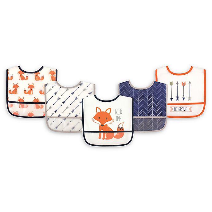 Alternate image 1 for Hudson Baby® 5-Pack PEVA Fox Drooler Bib Set in Orange