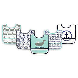 Hudson Baby® 5-Pack PEVA Whale Drooler Bib Set in Teal
