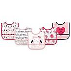 Hudson Baby® 5-Pack PEVA Owl Drooler Bib Set in Pink
