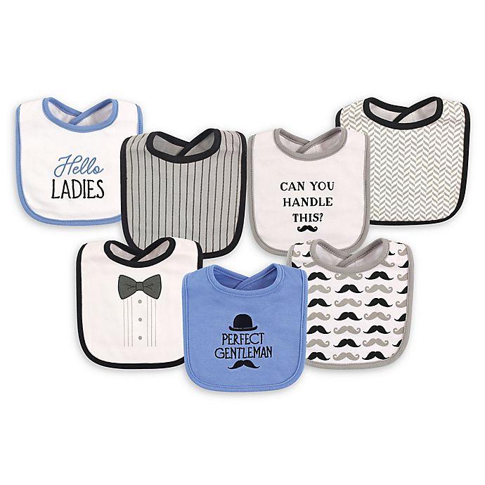 Alternate image 1 for Hudson Baby® 7-Pack Gentleman Drooler Bibs in Blue