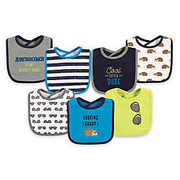 Hudson Baby® 7-Pack Hedgehog Drooler Bibs in Green