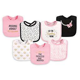 Hudson Baby® 7-Pack Princess Drooler Bibs in Black