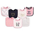 Hudson Baby® 7-Pack Love Drooler Bibs in Navy