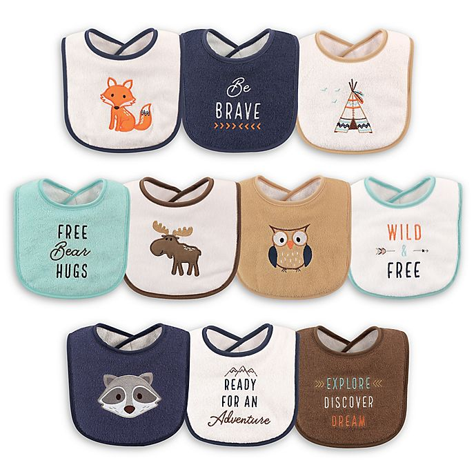 Alternate image 1 for Hudson Baby® 10-Pack Raccoon Drooler Bibs in Brown