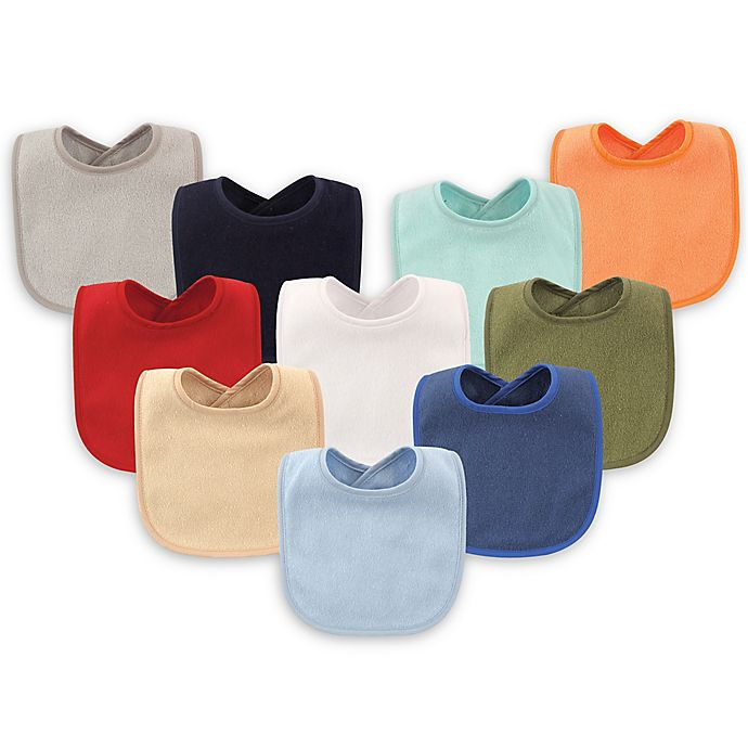Alternate image 1 for Hudson Baby® 10-Pack Drooler Bibs with Waterproof Lining in Blue
