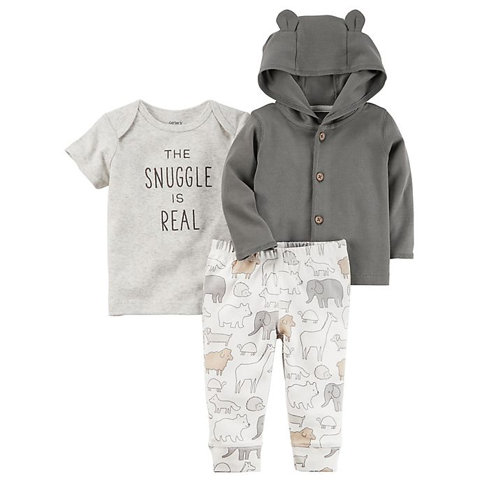 Alternate image 1 for carter's® 3-Piece Babysoft Little Jacket, Shirt, and Pant Set in Grey