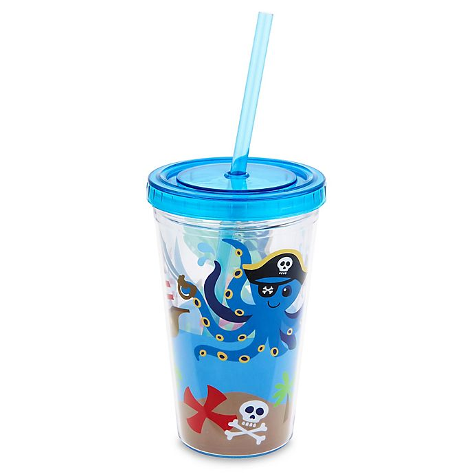 Alternate image 1 for Stephen Joseph 12 oz. Pirate Tumbler with Straw in Blue