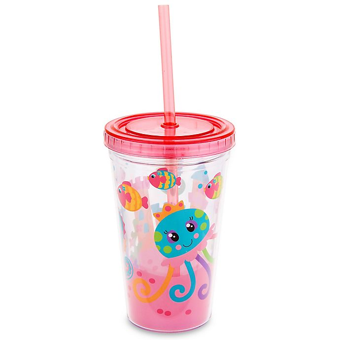 Alternate image 1 for Stephen Joseph 12 oz. Jellyfish Tumbler with Straw in Pink