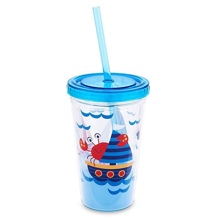Alternate image 1 for Stephen Joseph 12 oz. Nautical Tumbler with Straw in Blue