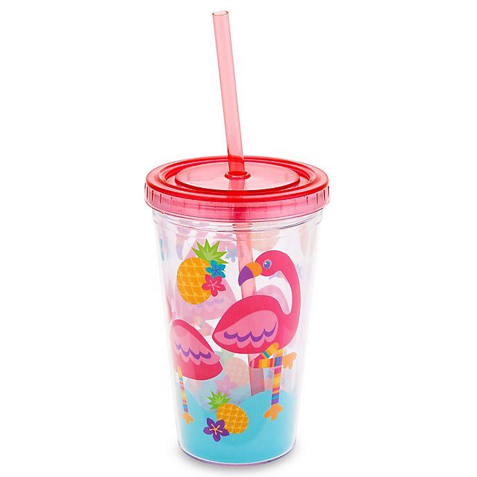Alternate image 1 for Stephen Joseph 12 oz. Flamingo Tumbler with Straw in Pink