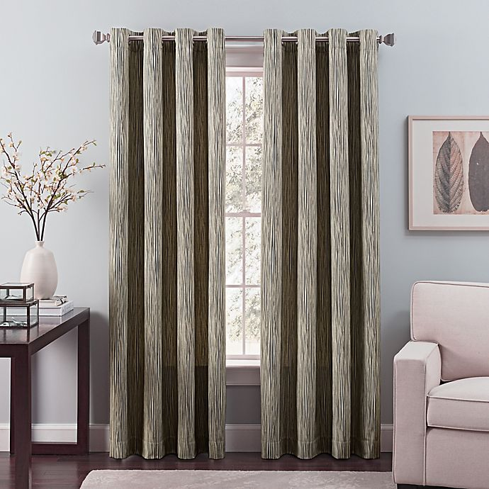 Alternate image 1 for Nuance 95-Inch Grommet Top Lined Window Curtain Panel in Black