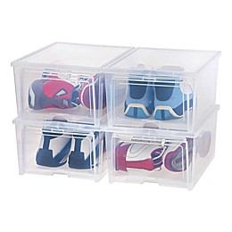 IRIS® Men's Shoe Box in Clear (Set of 4)