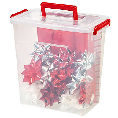 IRIS® 11 qt. Holiday Bow Boxes with Handle in Red (Set of 3)
