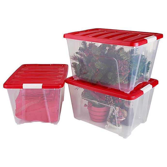 Alternate image 1 for IRIS® 54 qt. Holiday Storage Totes in Red (Set of 3)