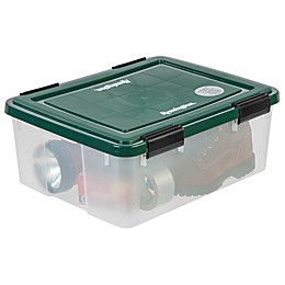 IRIS® 30 qt. Remington® Weathertight® Storage Boxes in Clear/Green (Set of 6)