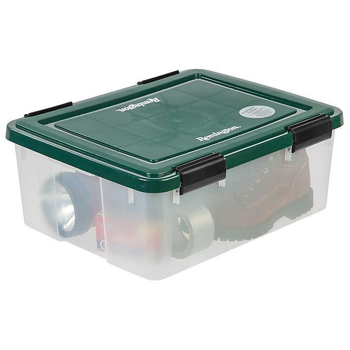 Alternate image 1 for IRIS® 30 qt. Remington® Weathertight® Storage Boxes in Clear/Green (Set of 6)