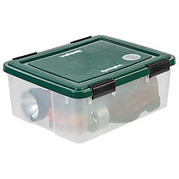 IRIS® 30 qt. Remington® Weathertight® Storage Boxes in Clear/Green (Set of 6)