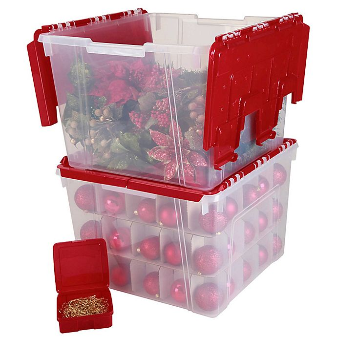 Storage Box With Ornament Divider In Red View A Larger Version Of This Product Image