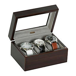 Mele & Co. Granby Glass Top Wooden Watch Box in Mahogany