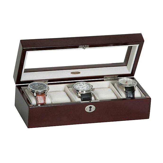Alternate image 1 for Mele & Co. Macon Glass Top Wooden Watch Box in Mahogany
