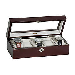 Mele & Co. Macon Glass Top Wooden Watch Box in Mahogany