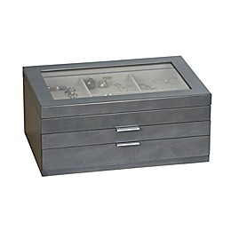 Mele & Co. Misty Glass Top Wooden Jewelry Box in Grey