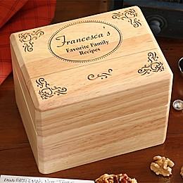 """Favorite Family Recipes"" Wood Recipe Box"
