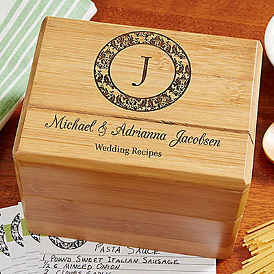 """Wedding Recipes"" Wood Recipe Box"